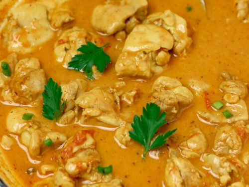 chicken curry in a pan.