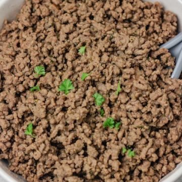 a bowl of ground beef.