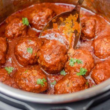 meatballs and tomato sauce.