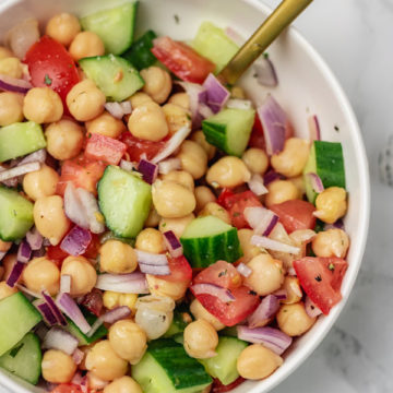 a plate of chickpea salad.