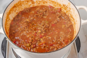 cooked meat sauce in a pan.