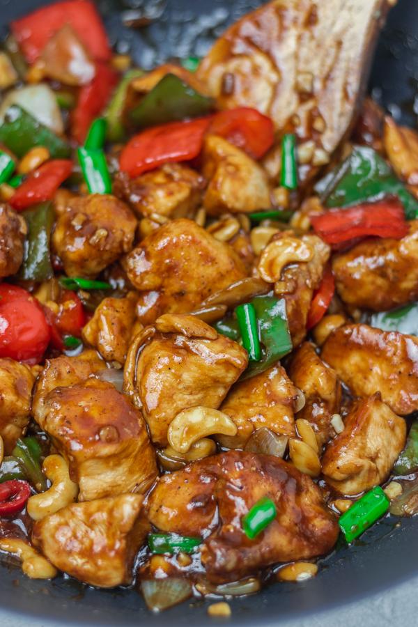 cashew chicken in a wok.