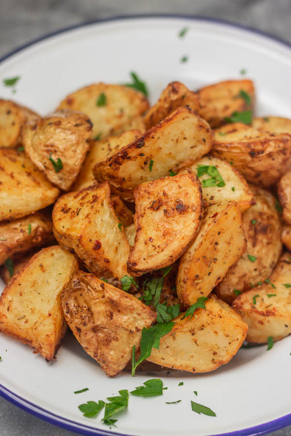 a bowl of roasted potatoes.