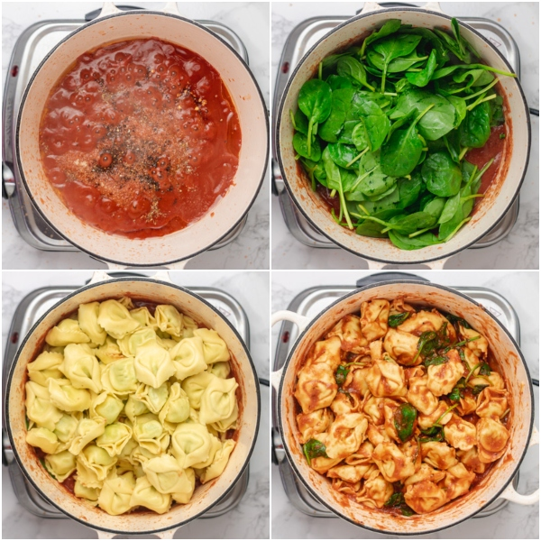 cooking process of cooking tortellini with sauce and spinach.