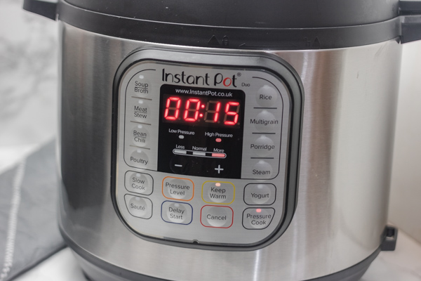 instant pot timer set to 15 minutes.
