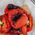 roasted peppers in a glass bowl.