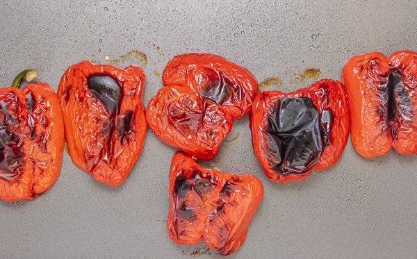 roasted peppers in a baking tray.