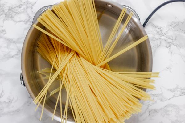 spaghetti in a pot.