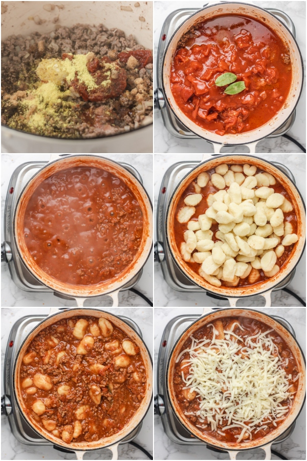 collage showing the process of cooking gnocchi in tomato sauce.