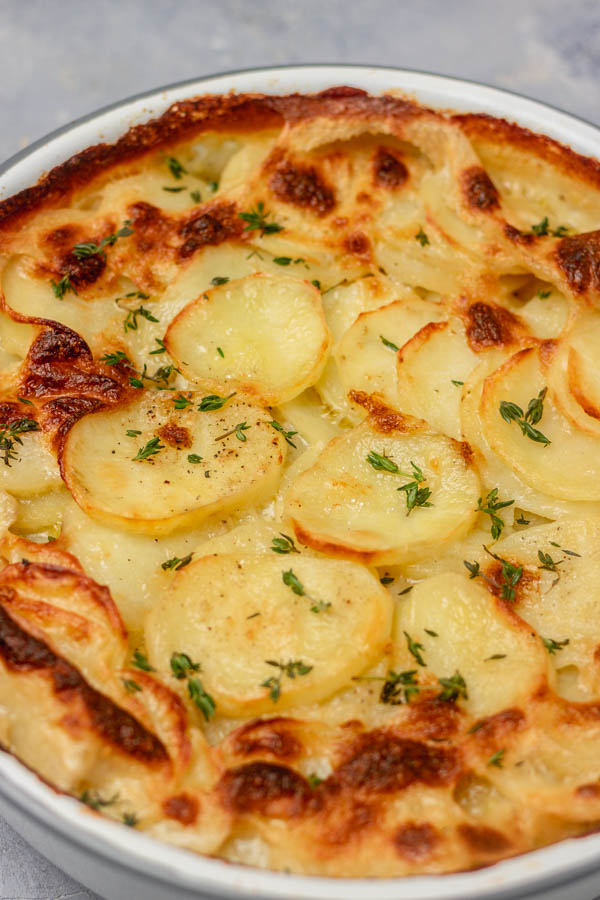 baked potatoes in a pie dish.