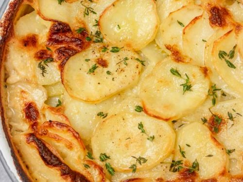 a pan of baked potatoes.
