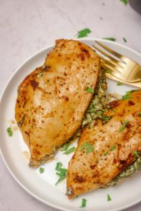 stuffed chicken breasts on a plate.