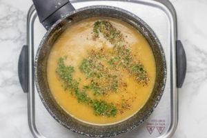 saucepan over a hot plate.