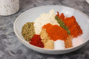 different spices in a bowl.