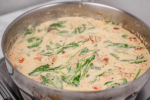 cream sauce in a skillet.
