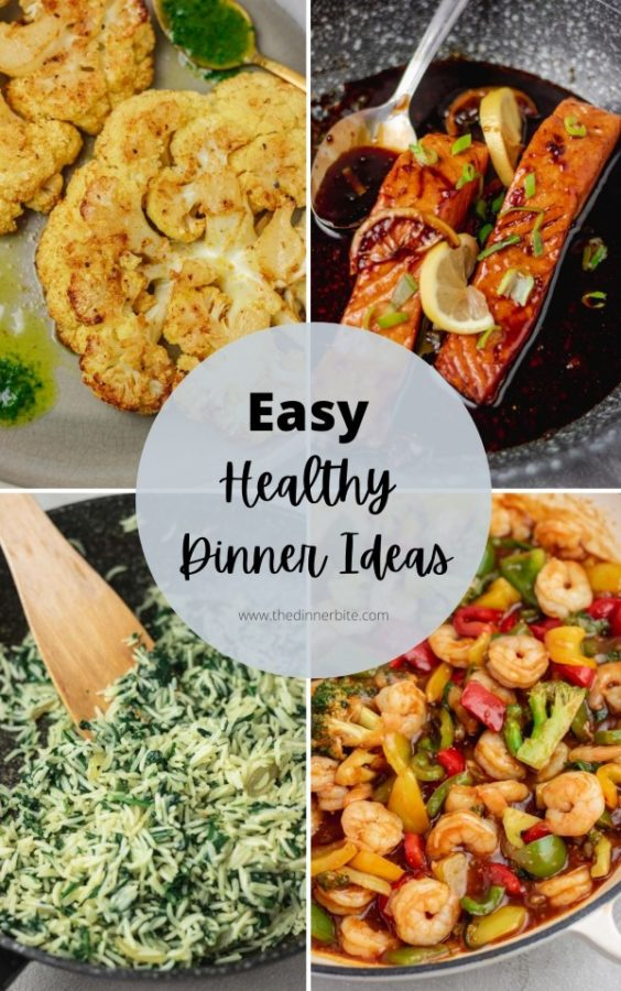 a collage with easy healthy dinner ideas illustration..