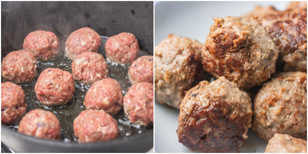 cooking process of how to cook meatballs.