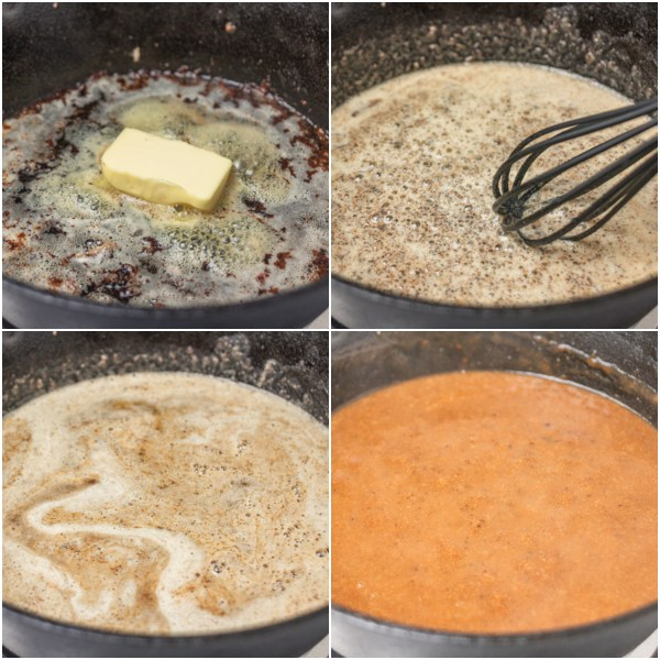 cooking process of how to make gravy.