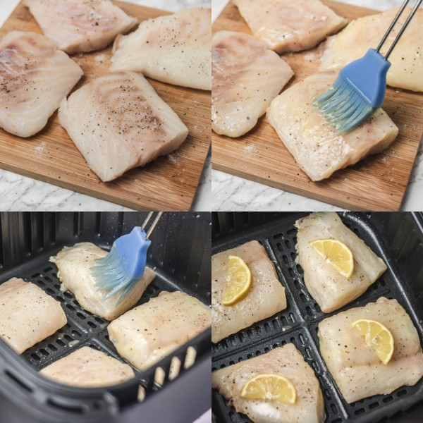 illustration on the process of cooking fish in air fryer.