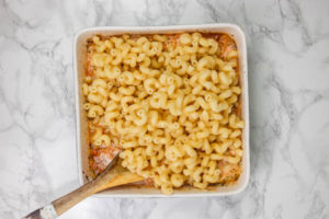 pasta in a baking dish.