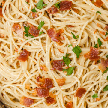 spaghetti and bacon.