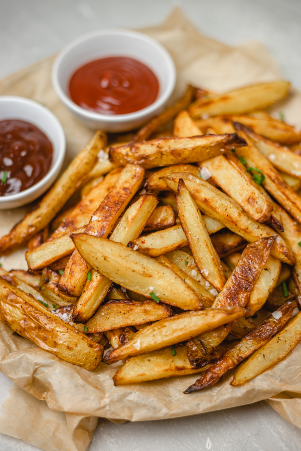 stacked chips on a plate.