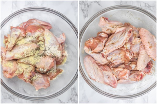 the process of marinating chicken in a bowl.