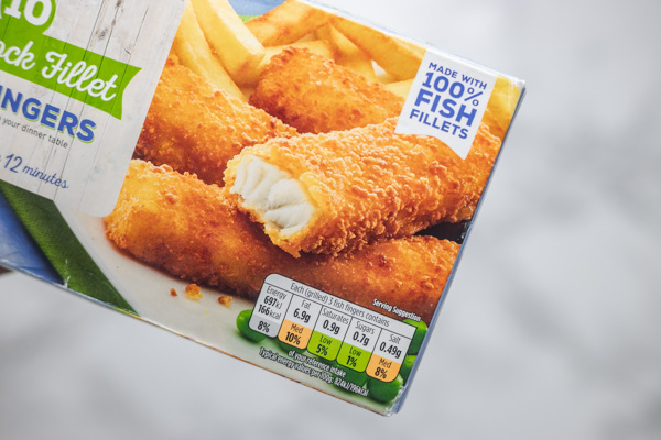 a box of frozen fish fillets.