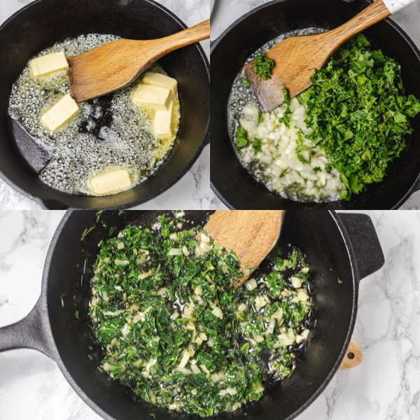 illustration of how to saute kale and onion in butter.