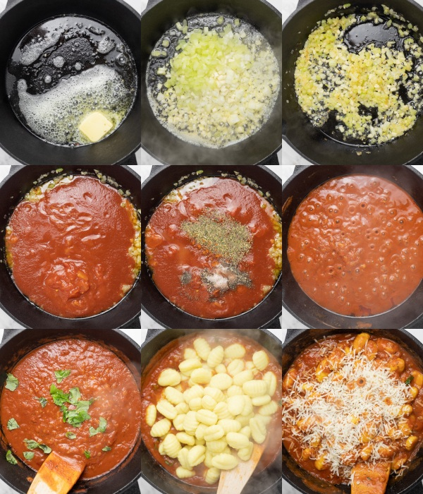 a picture collage showing the stages of cooking gnocchi and red sauce.