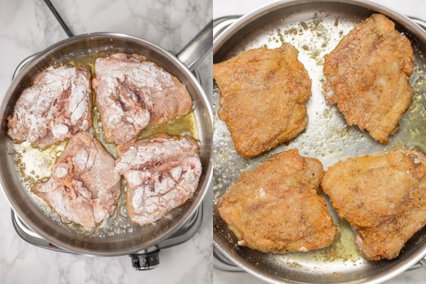 the process illustration of searing chicken.