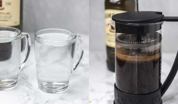 the process of making coffee in a french press.