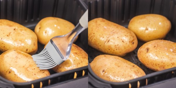 the process of making potatoes in air fryer.