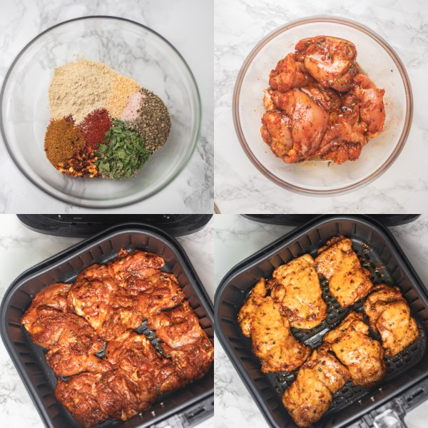 the cooking process of making marinated chicken thigh in the air fryer.
