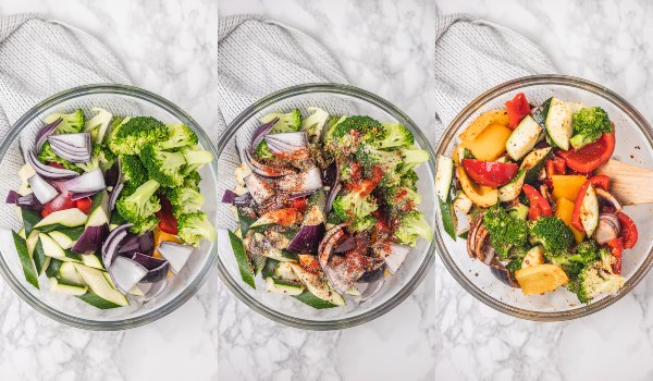 the process shots of marinating chopped vegetables in seasoning and mixing it with a wooden ladle.