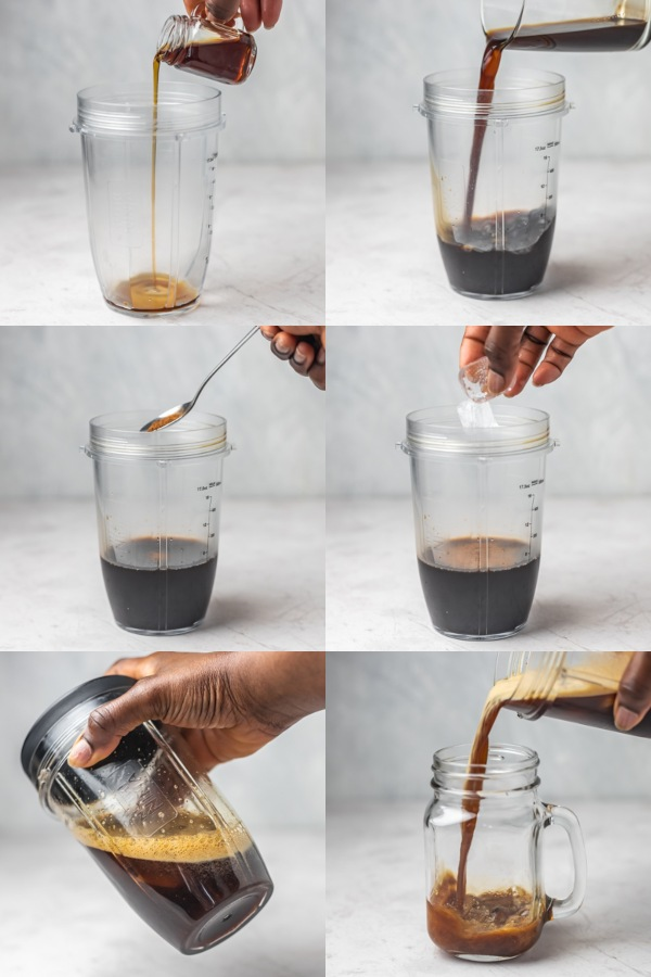 collage of the process of making shaken espresso.