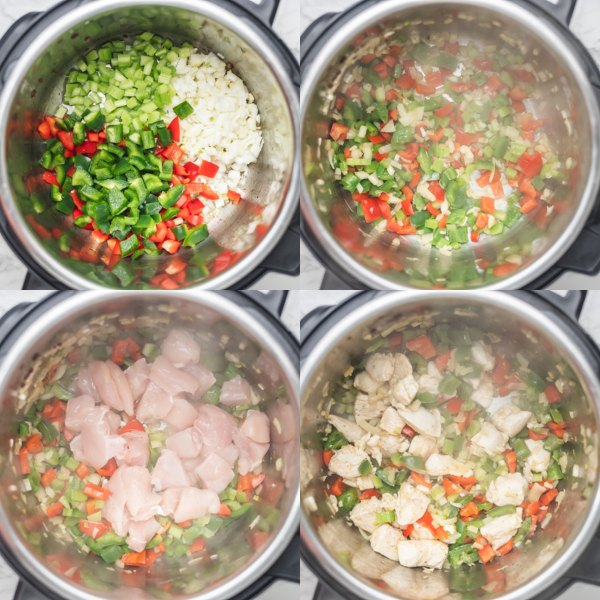 the process of sauteing peppers and chicken in instant pot.