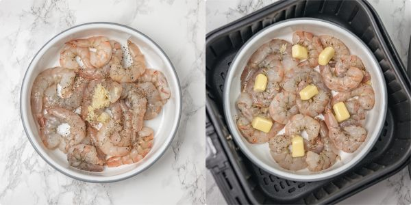 the process of cooking shrimps using a baking dish in the air fryer.
