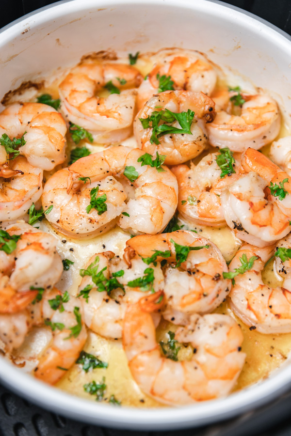 freshly cooked shrimps in a baking dish.