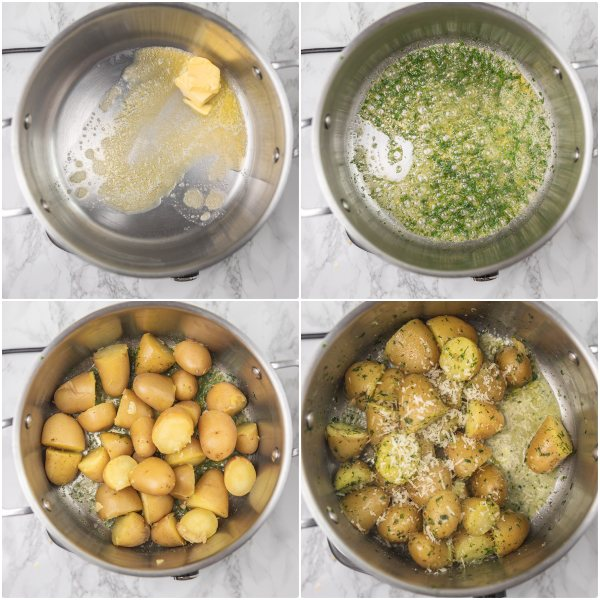 the process shot of making buttery herb potatoes.