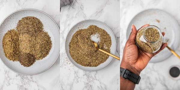 the process shot of making herb de provence.
