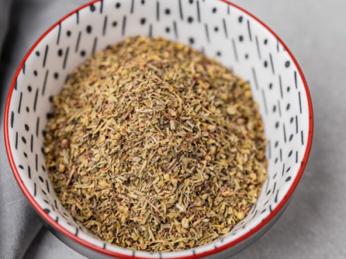 herb de provence in a small patterned bowl.