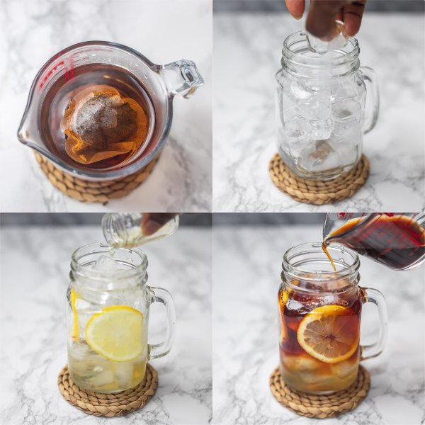 the process of how to make iced tea.