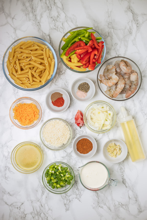 the ingredients to be used to cook rasta pasta.
