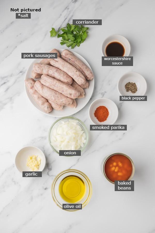 ingredients needed to make sausage casserole.