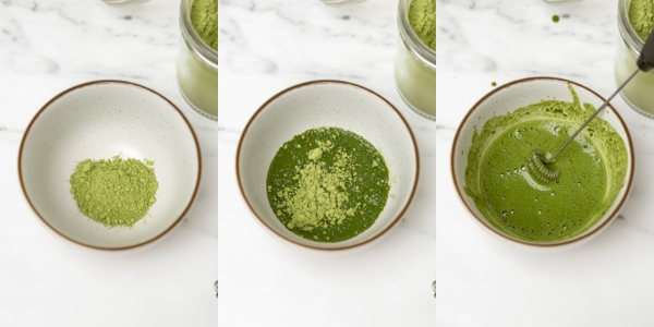 the process of mixing the matcha tea with a milk frother.