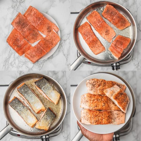 The process shot of pan frying salmon.