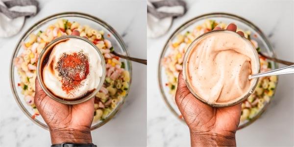 the process shot of making prawn cocktail sauce.