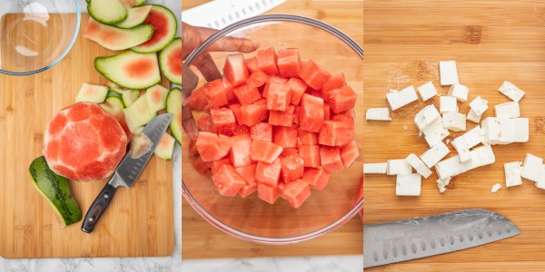 the process shot of cutting watermelon and feta cheese.