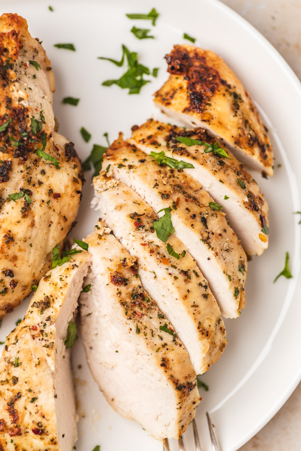 a close shot of sliced chicken breast.